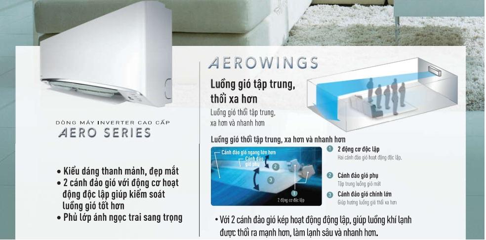 Thiết kế AeroWing mang tới sự sang trọng, hiện đại cùng khả năng làm lạnh cực nhanh